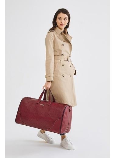 Deri Company Deri Company (4027B) Basic Monogram Desenli Logolu Kadın Valiz (Bavul) Bordo